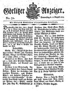 Görlitzer Anzeiger vom 10.08.1809