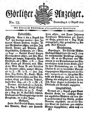 Görlitzer Anzeiger vom 17.08.1809