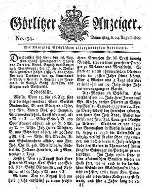 Görlitzer Anzeiger vom 24.08.1809