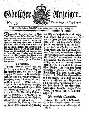 Görlitzer Anzeiger vom 31.08.1809