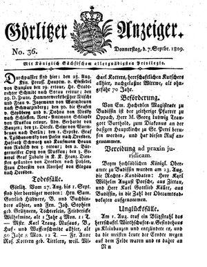 Görlitzer Anzeiger vom 07.09.1809