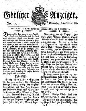 Görlitzer Anzeiger vom 14.09.1809