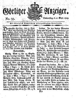 Görlitzer Anzeiger vom 21.09.1809