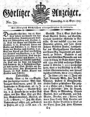 Görlitzer Anzeiger vom 28.09.1809