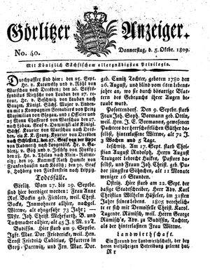 Görlitzer Anzeiger vom 05.10.1809