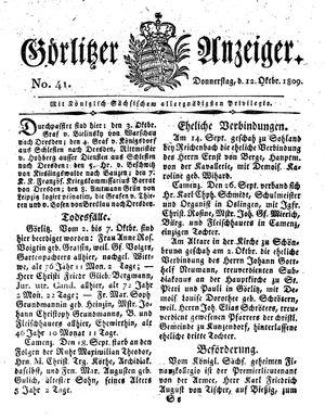 Görlitzer Anzeiger on Oct 12, 1809