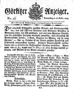 Görlitzer Anzeiger vom 26.10.1809