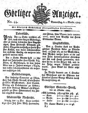 Görlitzer Anzeiger vom 02.11.1809