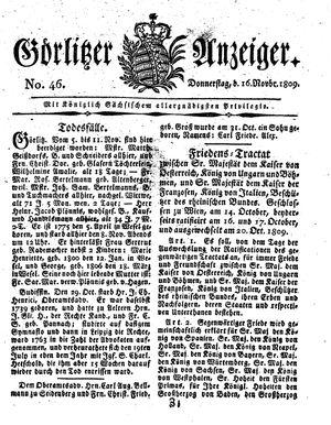 Görlitzer Anzeiger vom 16.11.1809