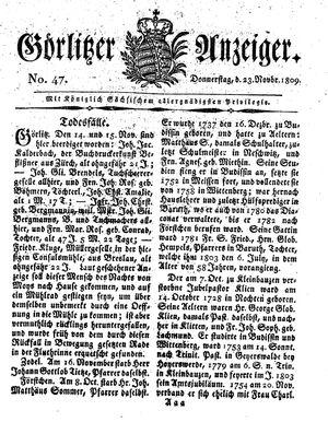 Görlitzer Anzeiger vom 23.11.1809