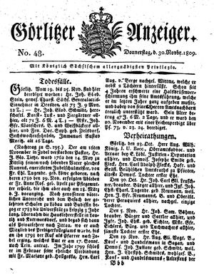 Görlitzer Anzeiger vom 30.11.1809