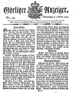 Görlitzer Anzeiger vom 07.12.1809