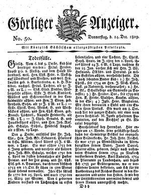 Görlitzer Anzeiger vom 14.12.1809