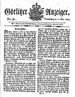 Görlitzer Anzeiger vom 21.12.1809