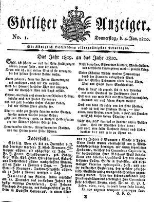Görlitzer Anzeiger vom 04.01.1810