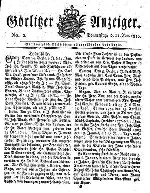 Görlitzer Anzeiger vom 11.01.1810