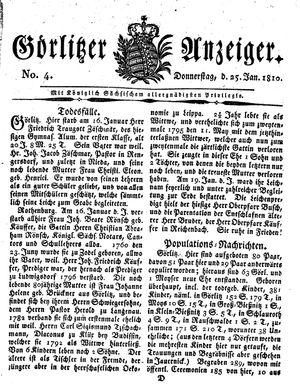 Görlitzer Anzeiger vom 25.01.1810