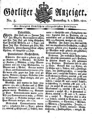 Görlitzer Anzeiger vom 01.02.1810