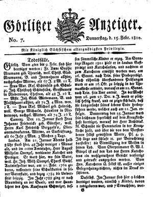 Görlitzer Anzeiger vom 15.02.1810