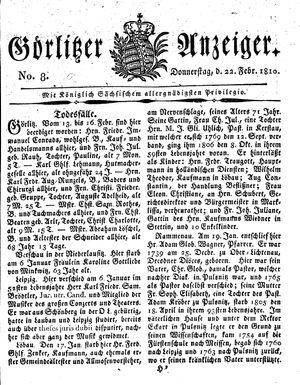 Görlitzer Anzeiger vom 22.02.1810