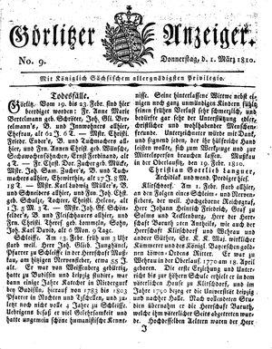 Görlitzer Anzeiger vom 01.03.1810