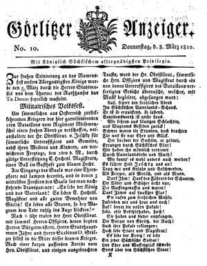 Görlitzer Anzeiger vom 08.03.1810