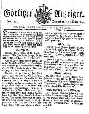 Görlitzer Anzeiger vom 15.03.1810