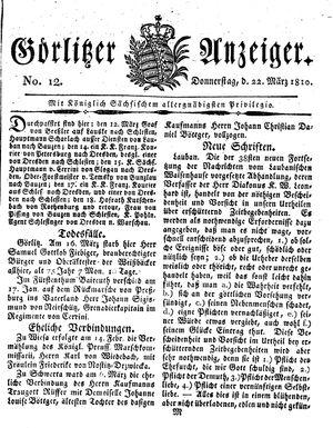 Görlitzer Anzeiger vom 22.03.1810