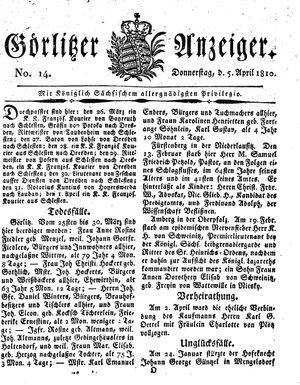 Görlitzer Anzeiger vom 05.04.1810