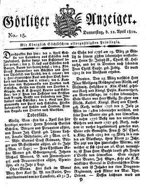 Görlitzer Anzeiger vom 12.04.1810