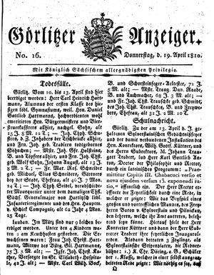 Görlitzer Anzeiger vom 19.04.1810