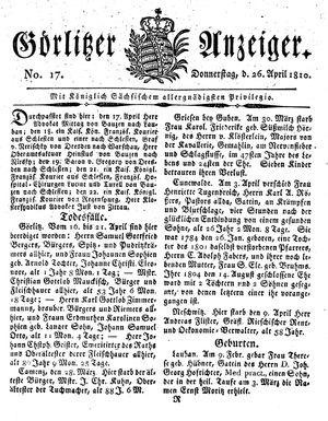 Görlitzer Anzeiger on Apr 26, 1810