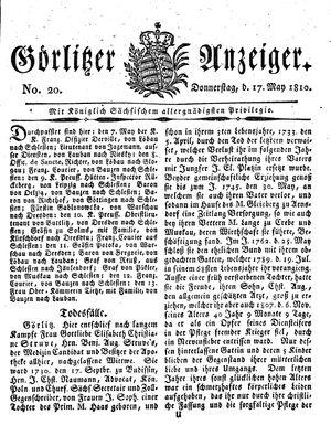 Görlitzer Anzeiger vom 17.05.1810