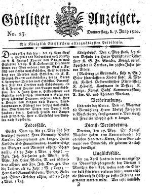 Görlitzer Anzeiger vom 07.06.1810