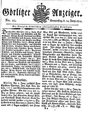 Görlitzer Anzeiger vom 14.06.1810
