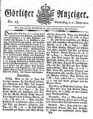 Görlitzer Anzeiger vom 21.06.1810
