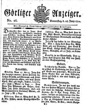 Görlitzer Anzeiger vom 28.06.1810