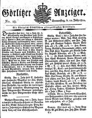 Görlitzer Anzeiger vom 12.07.1810
