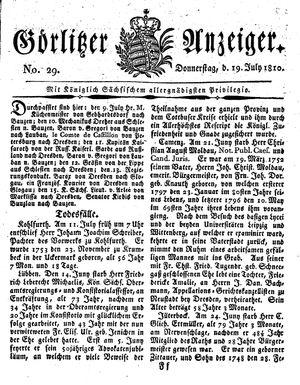 Görlitzer Anzeiger vom 19.07.1810