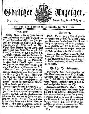 Görlitzer Anzeiger vom 26.07.1810