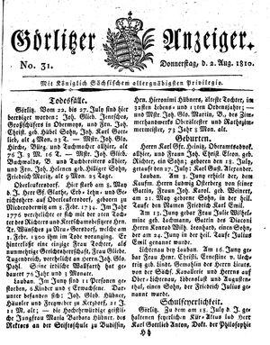 Görlitzer Anzeiger vom 02.08.1810