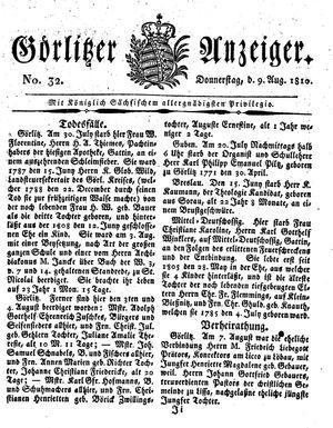 Görlitzer Anzeiger vom 09.08.1810
