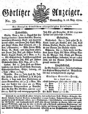 Görlitzer Anzeiger vom 16.08.1810