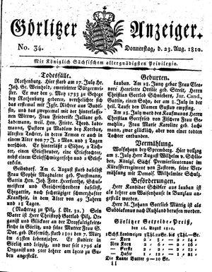 Görlitzer Anzeiger vom 23.08.1810