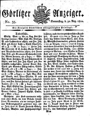 Görlitzer Anzeiger vom 30.08.1810