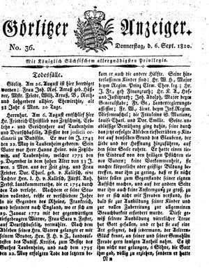 Görlitzer Anzeiger vom 06.09.1810