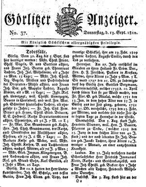 Görlitzer Anzeiger vom 13.09.1810