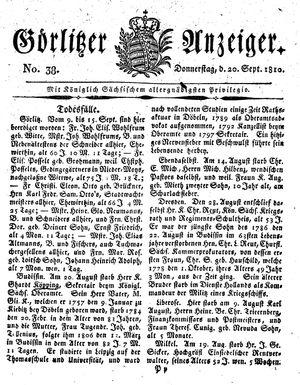 Görlitzer Anzeiger vom 20.09.1810