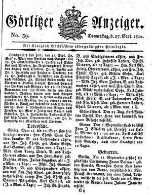 Görlitzer Anzeiger vom 27.09.1810
