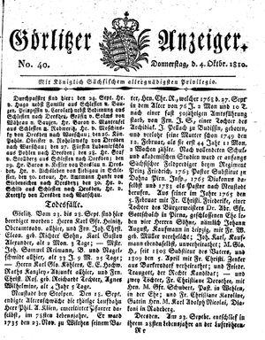 Görlitzer Anzeiger vom 04.10.1810